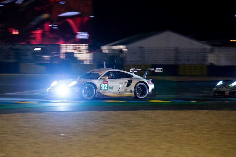 Porcshe by night at Le Mans