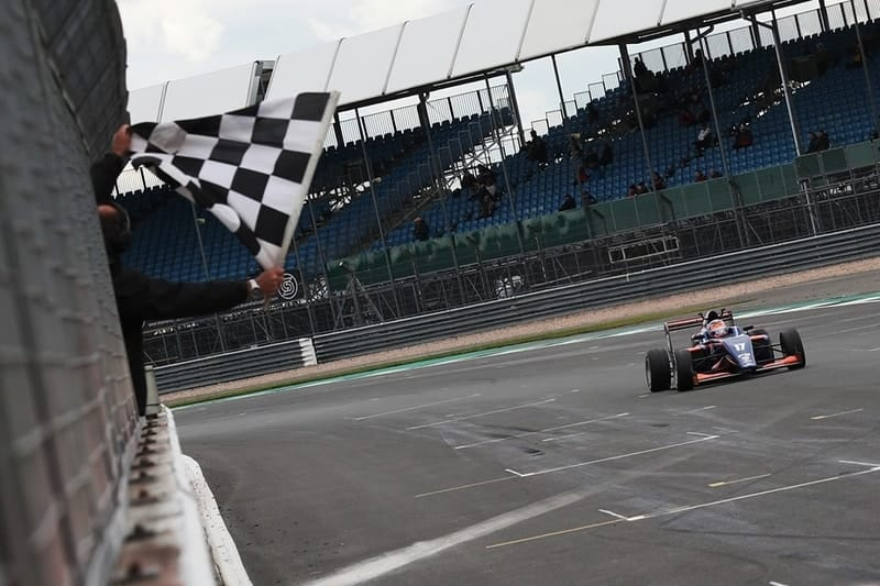Clemenet Novalak wins BRDC British F3 race one at Silverstone GP circuit