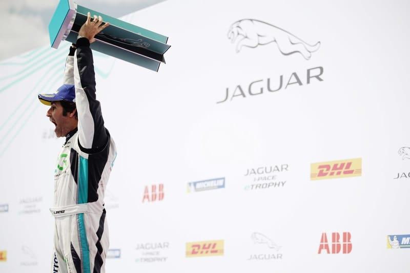 Sergio Jimenez celebrating Jaguar I-Pace eTrophy championship