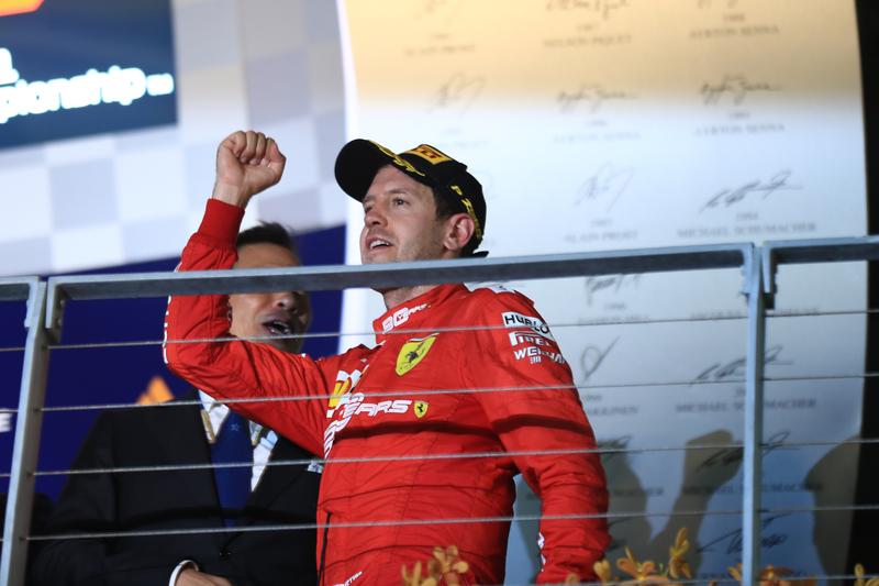 Sebastian Vettel - Scuderia Ferrari Mission Winnow in the 2019 Formula 1 Singapore Grand Prix - Marina Bay Street Circuit - Race - Podium