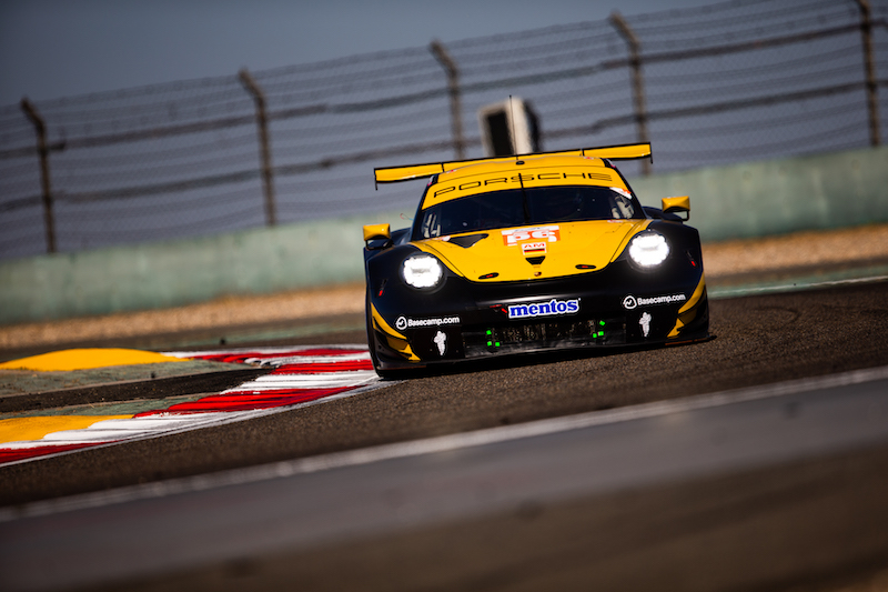 56 Team Project 1 LM GTE Am pole-sitting car on track at Shanghai International Circuit, 2019