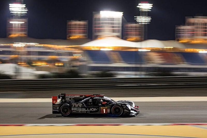 #1 Rebellion Racing LMP1 car on track at Bahrain, 2019