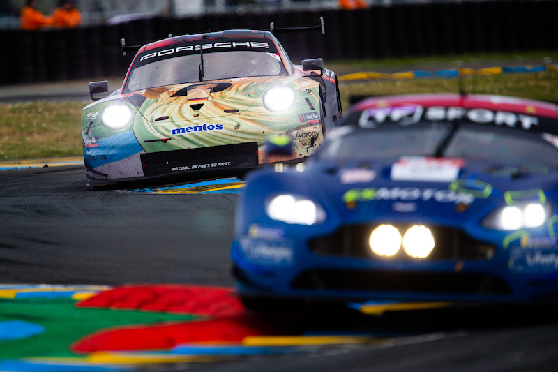#56 Team Project 1 and #90 TFSport battling on track at 24 Hours of Le Mans