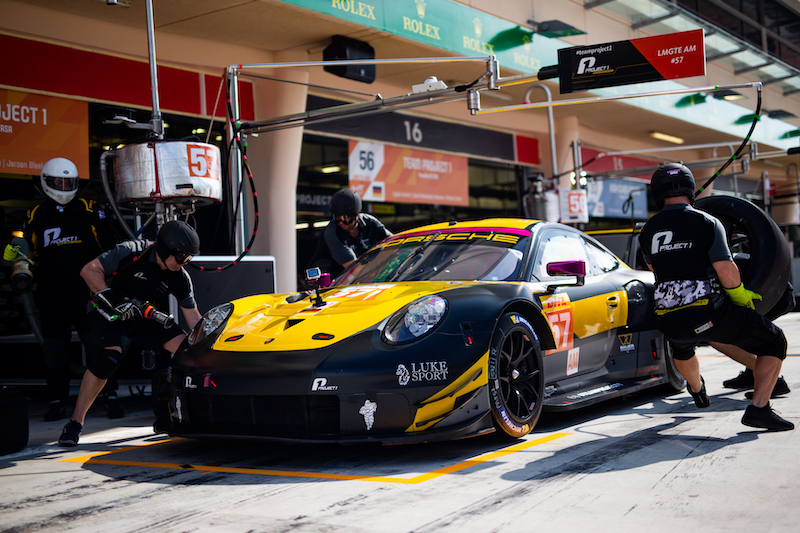 #57 Team Project 1 LM GTE Am car in pit lane, Bahrain 2019
