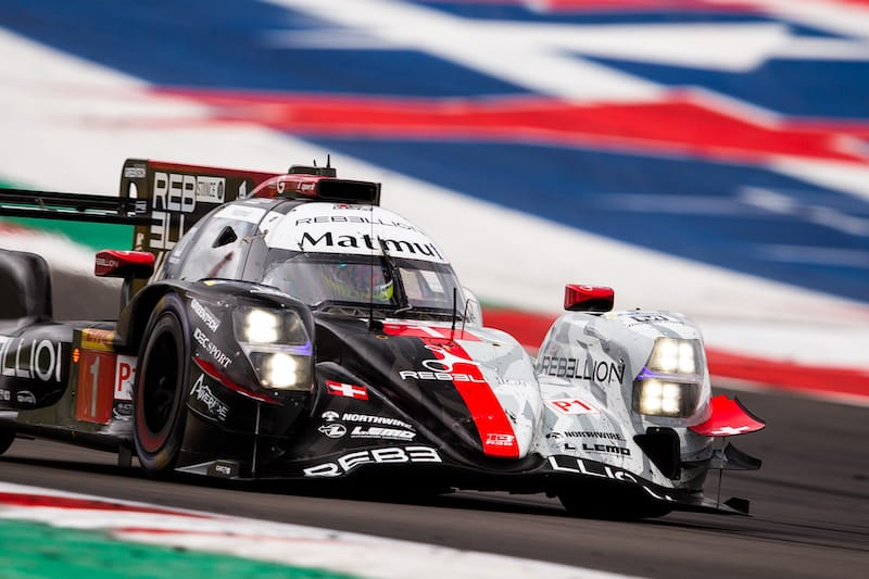 #1 Rebellion Racing LMP1 car on track at Circuit of the Americas, 2020