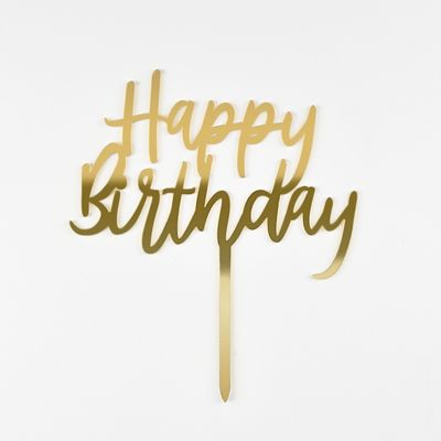 Topper Happy Birthday Gold Cake Toppers Our Cakes The Cheesecake Shop