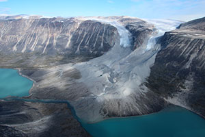 Glaciers usually advance during cold times and recede during warm ones. These two in western Greenland are now retreating from where they may have been when the Vikings arrived. (Jason Briner) [[NOTE: THIS IS THE ONE WITH 2 DISTINCT GLACIER TONGUES]]
