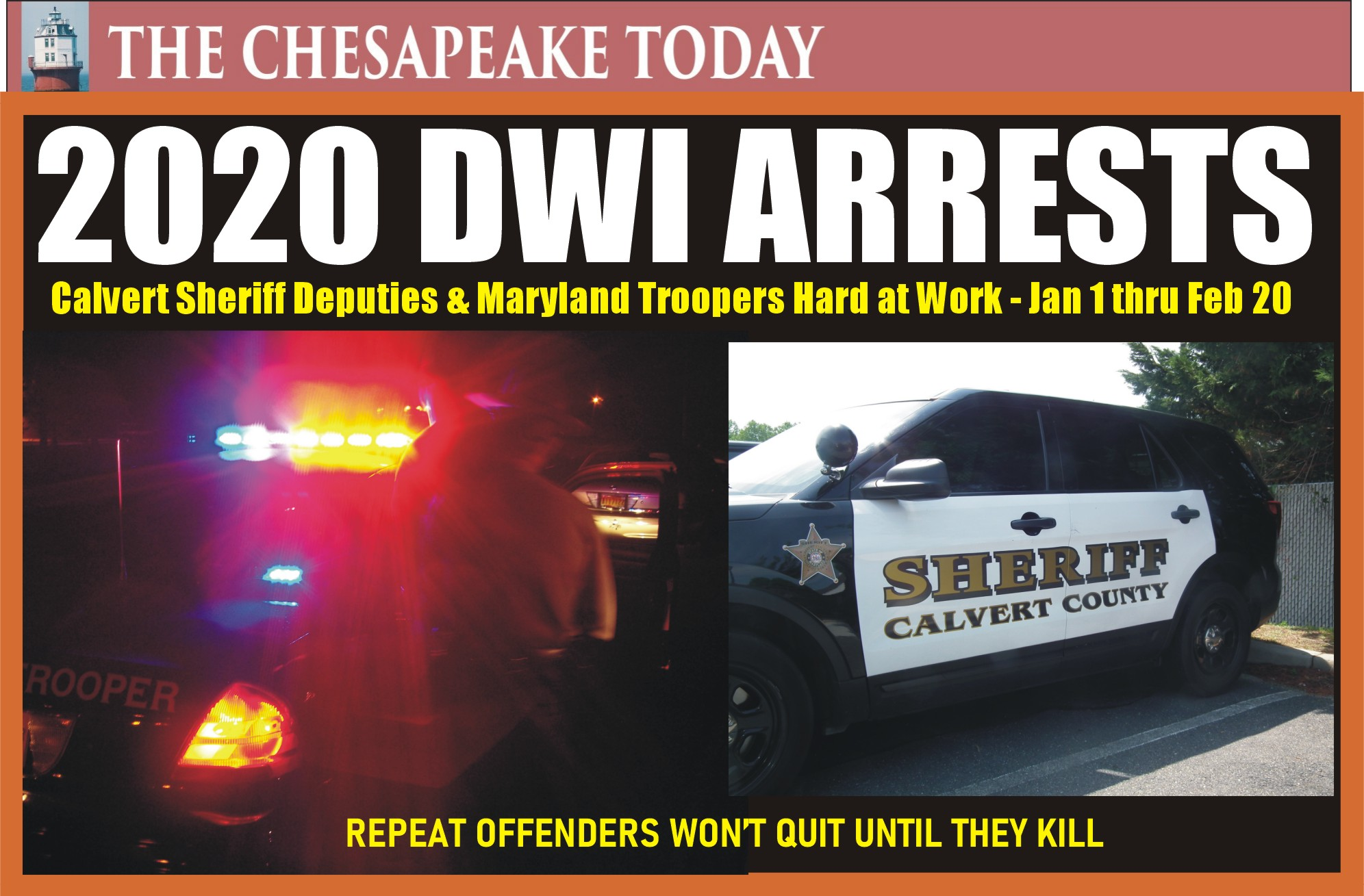 DWI HIT PARADE: Calvert County DUI arrests for January 1 thru Feb. 19, 2020, by Maryland State Police and Calvert Sheriff's Department