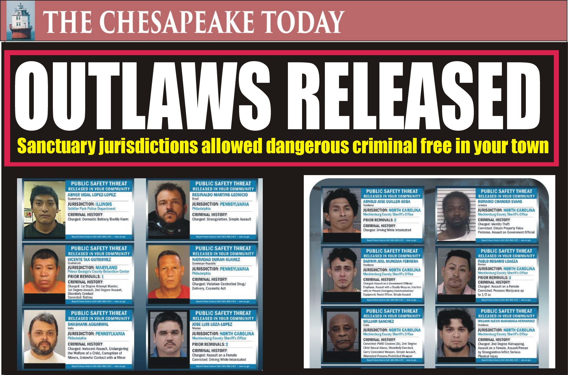 CRIMINAL MIGRANTS: These criminals have been released into your community by sanctuary jurisdictions