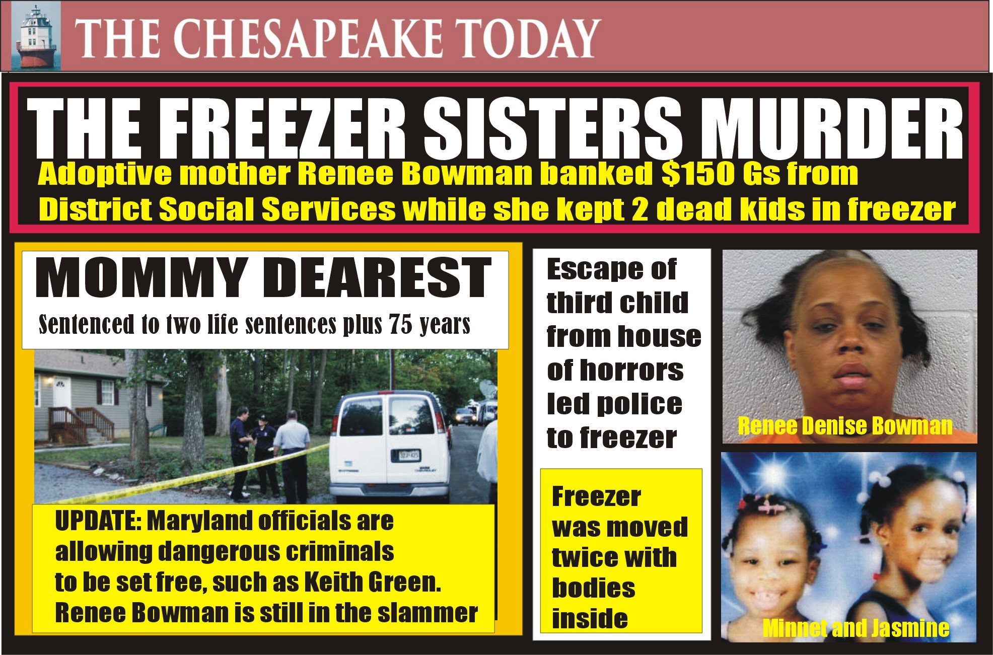MURDER USA: The Case of the Freezer Sisters; Renee Denise Bowman still in prison for the murder of two adopted children kept in a freezer while she cashed checks from the District of Columbia