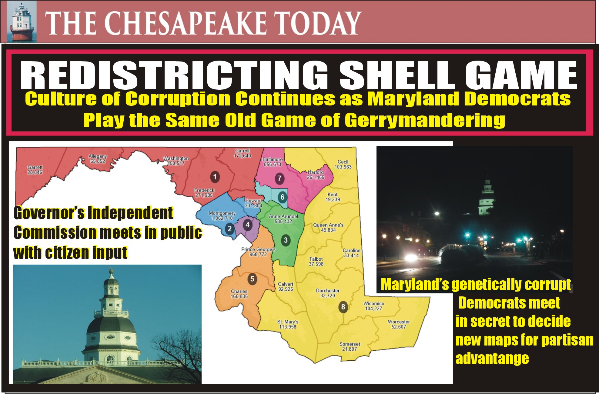 MARYLAND REDISTRICTING: Democrats are a no-show of their plans on gerrymandering of legislative and congressional districts for political gain