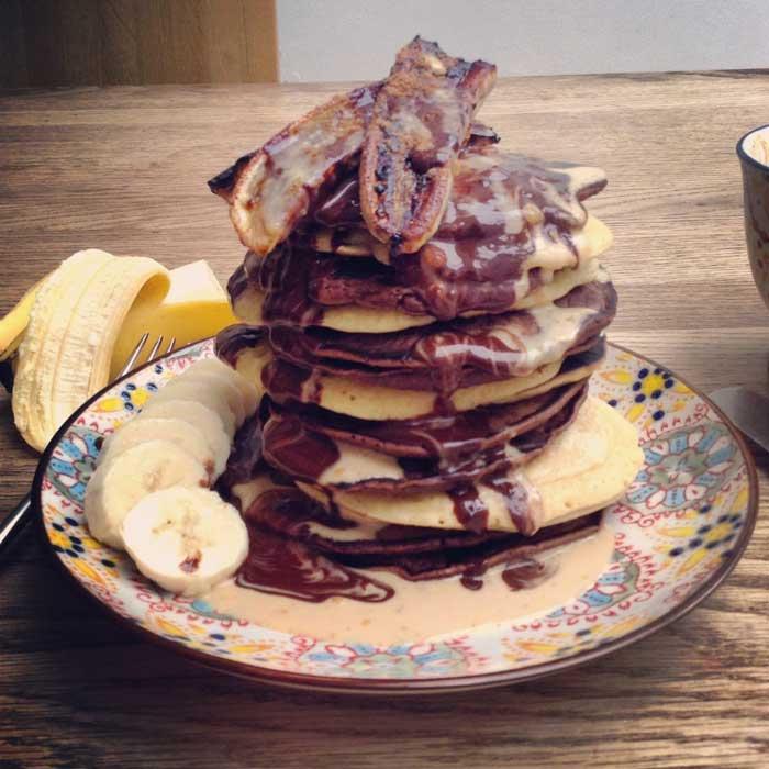 vegan peanut butter and chocolate pancakes 1