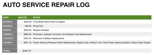 AUto Service Repair Log