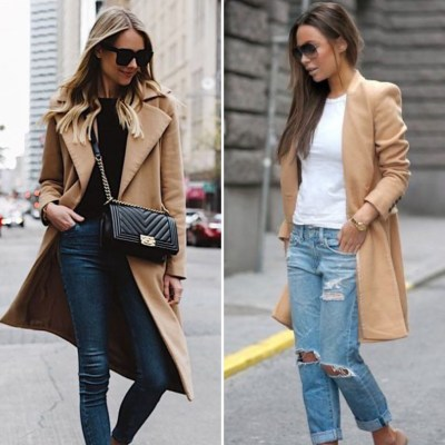 Cappotto cammello jeans outfit The Chic Jam