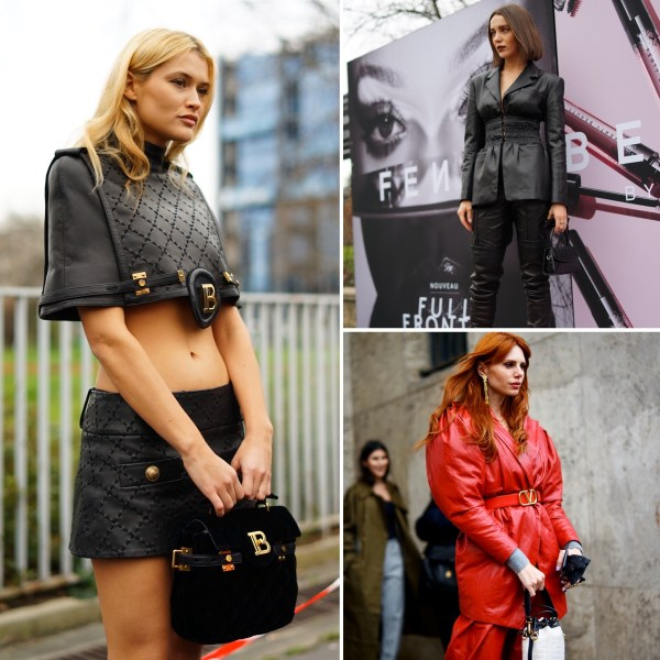 pelle leather look outfit fashion week the chic jam gmstyle nero rosso
