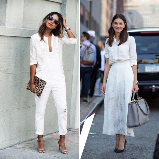 Total white camicia bianca