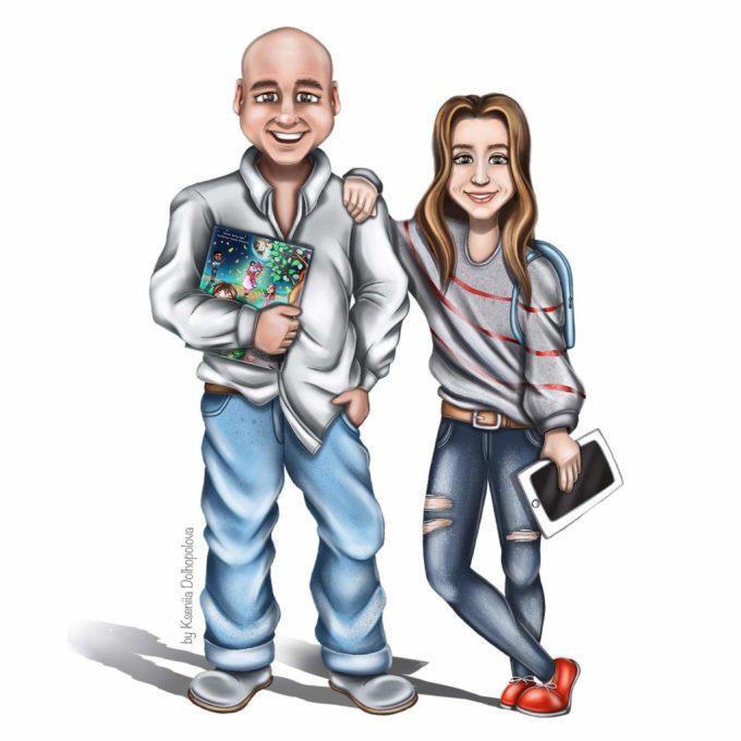 Illustration of Ron Ryan and Kseniia Dolhopolova