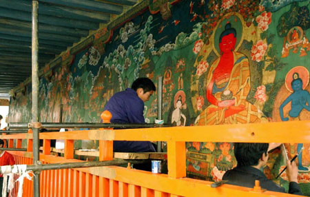 China restores monastery murals in Jokhang Temple