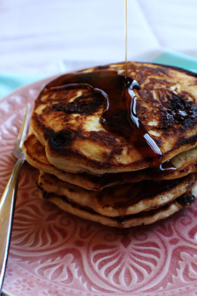 Chocolate Chip Pancakes - Light and super fluffy pancakes that are easy to make and are made better with the addition chocolate.