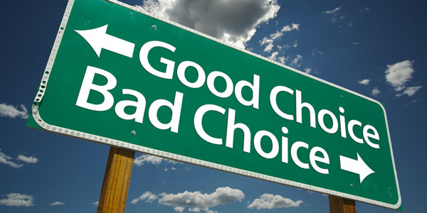 Image of a road sign which illustrates the way life changes according to choices made.