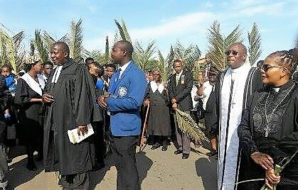 AME and MCSA (Methodist Church of Southern Africa) clergy leading the procession