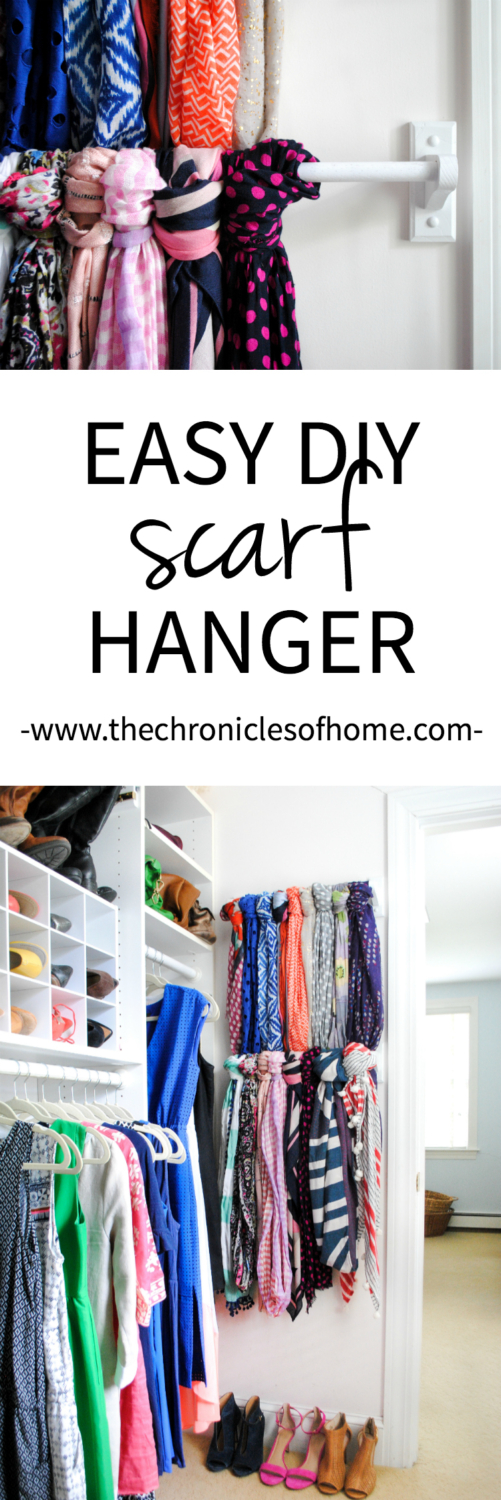 An easy and inexpensive scarf hanger using wooden towel bars