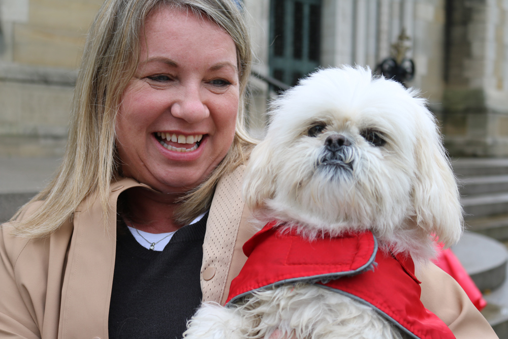 Wet pets are blessed on the steps of Belfast Cathedral!