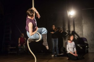 Tina Koch on rope in Me, Mother IMAGE: David Levene