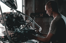 mechanic with engine
