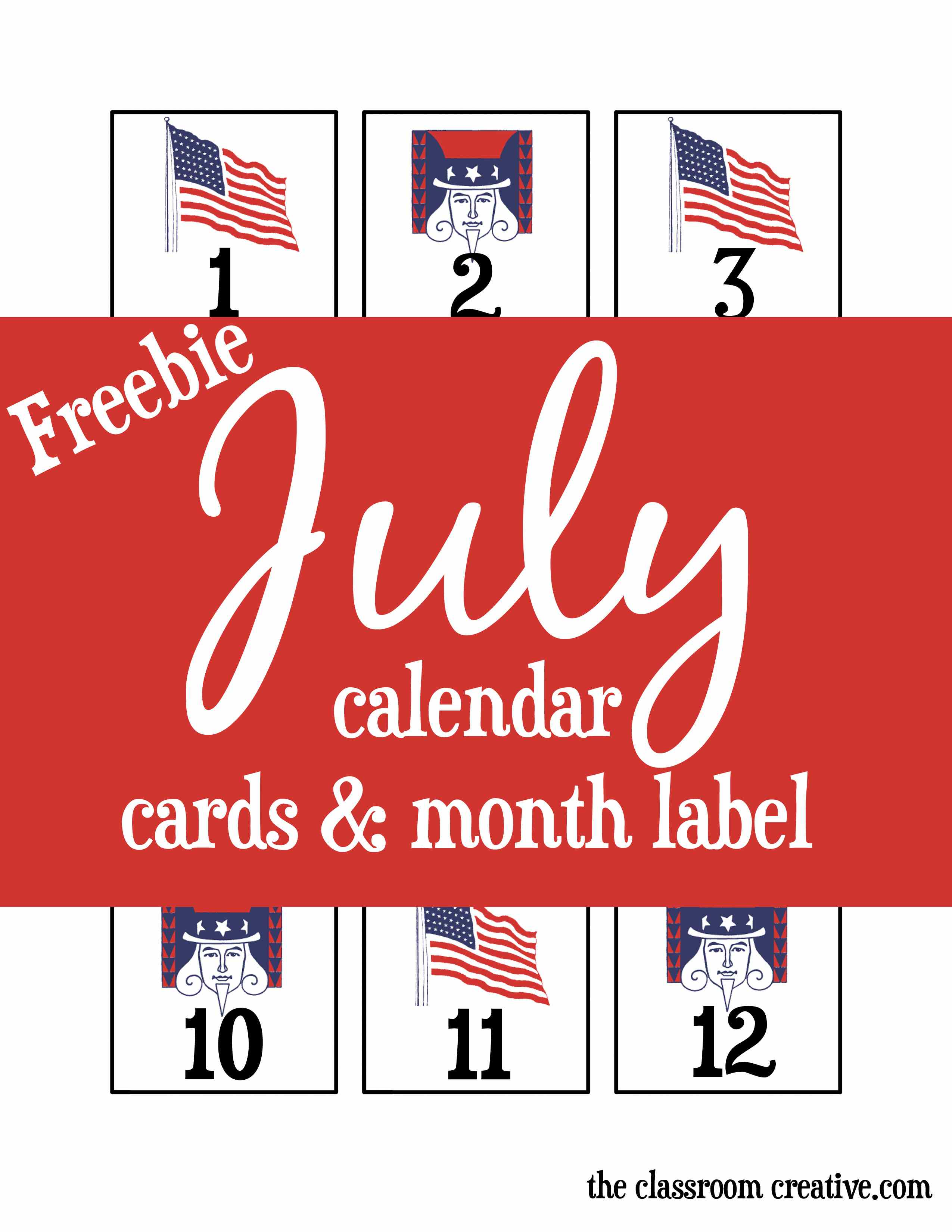 Free Printable July Calendar Cards And Month Label