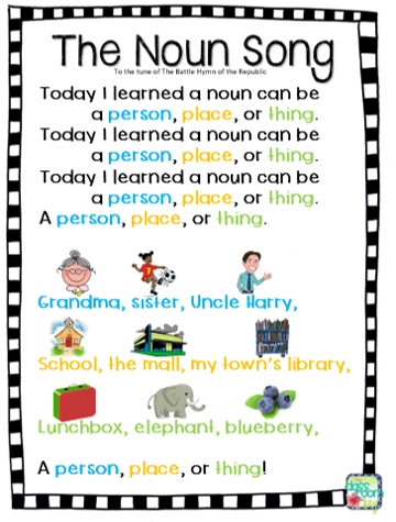 Teach students to identify nouns with this fun song, perfect for the elementary classroom
