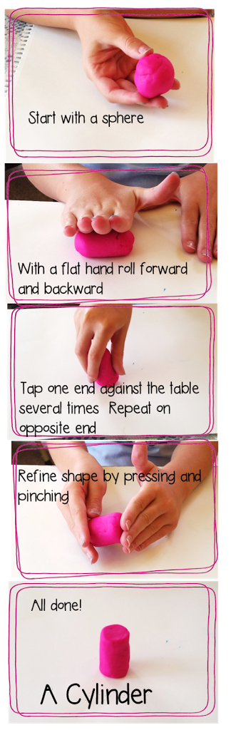sculpting a cylinder our of playdoh, a fun activity for teaching 3D shapes and geometry #teachingmath #geometry