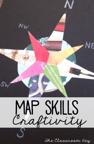 Free compass rose project template to reinforce map skills, a fun way to integrate art and social studies in the elementary classroom