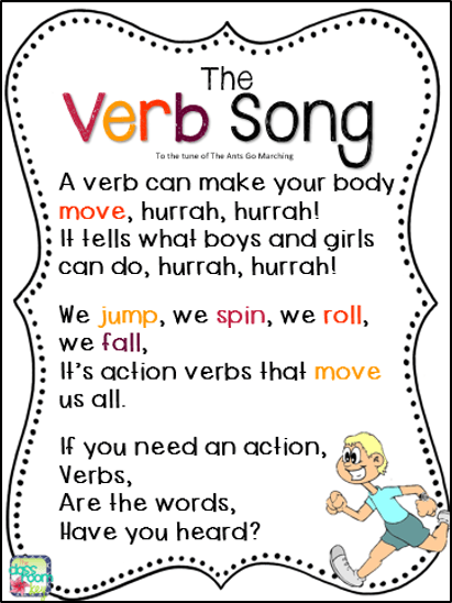 Teach students to identify verbs with this fun song, great for learning parts of speech in the elementary classroom