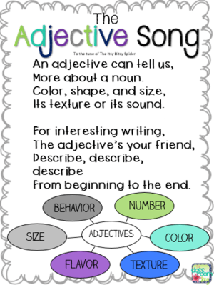 An easy song to help your students learn to identify adjectives, the fun way to teach part of speech! Great for 1st, 2nd, or 3rd grade