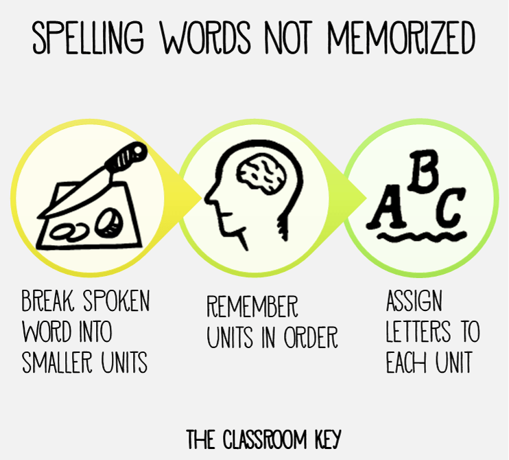 the process of spelling words