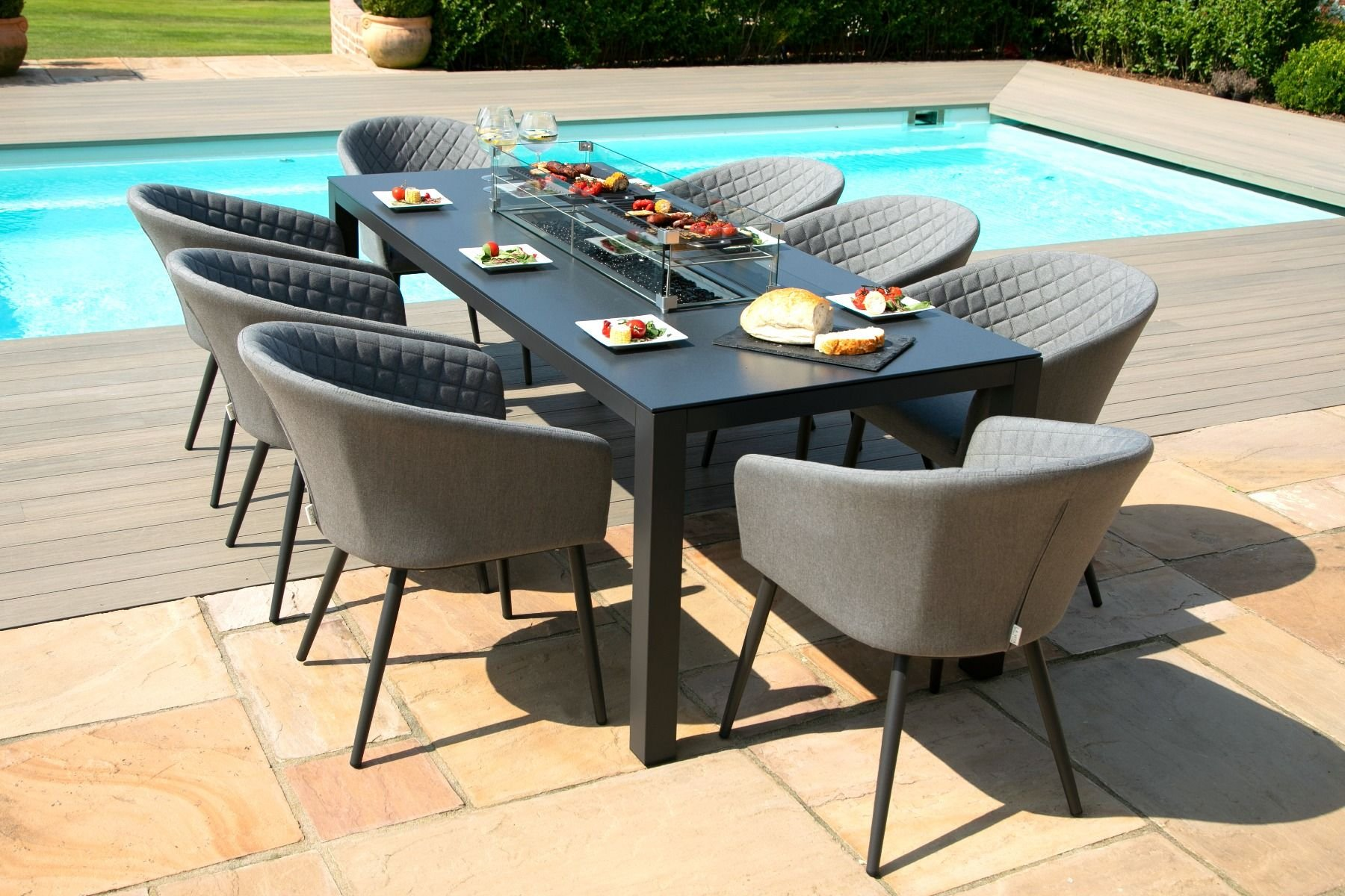 ambition 8 seat rectangle dining set with fire pit flanelle