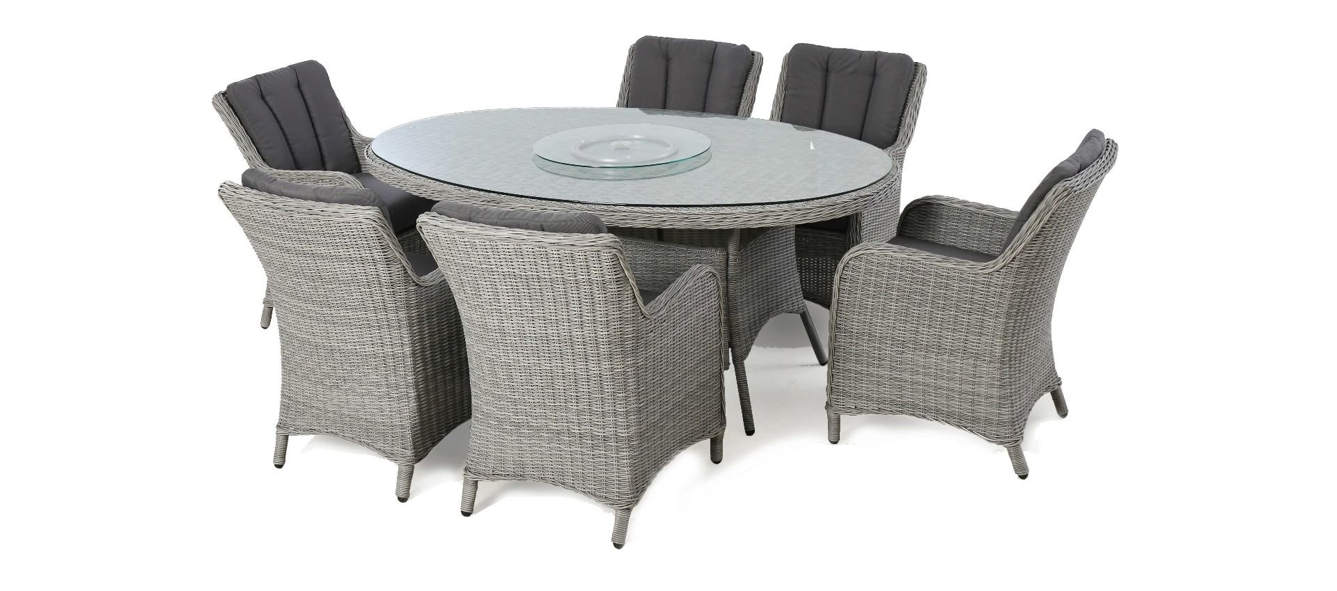 maze rattan ascot 6 seat oval dining set with waterproof cushions
