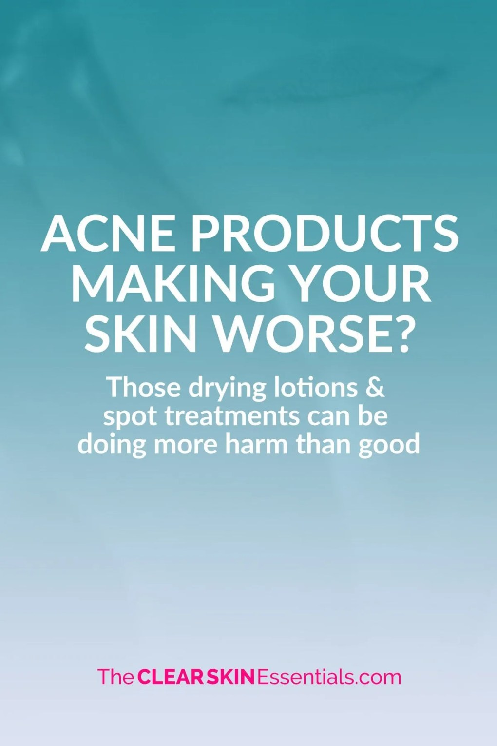Can acne products be making your skin worse? The reality is benzoyl peroxide and salicylic acid are very drying and irritating. Those drying lotions and acne spot treatments could in fact be making you have more breakouts, delaying your skin's ability to heal, and even cause hyperpigmentation and scarring. Click through to read more (and try something else that really works) | www.TheClearSkinEssentials.com