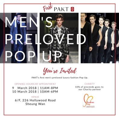 Dont Miss Out On Hong Kongs First Ever Preloved Mens Pop Up On Th Th March  Pakt Will Be Featuring A Wide Range Of Designer Coats Suits