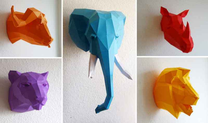 DIY Geometric Paper Animal Sculptures by Paperwolf - The Clothes Maiden
