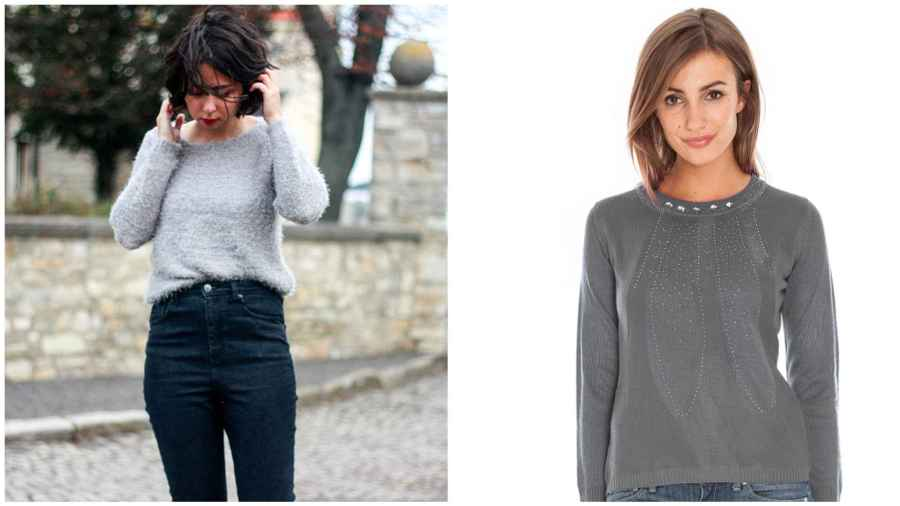 grey stylish jumper - the clothes maiden