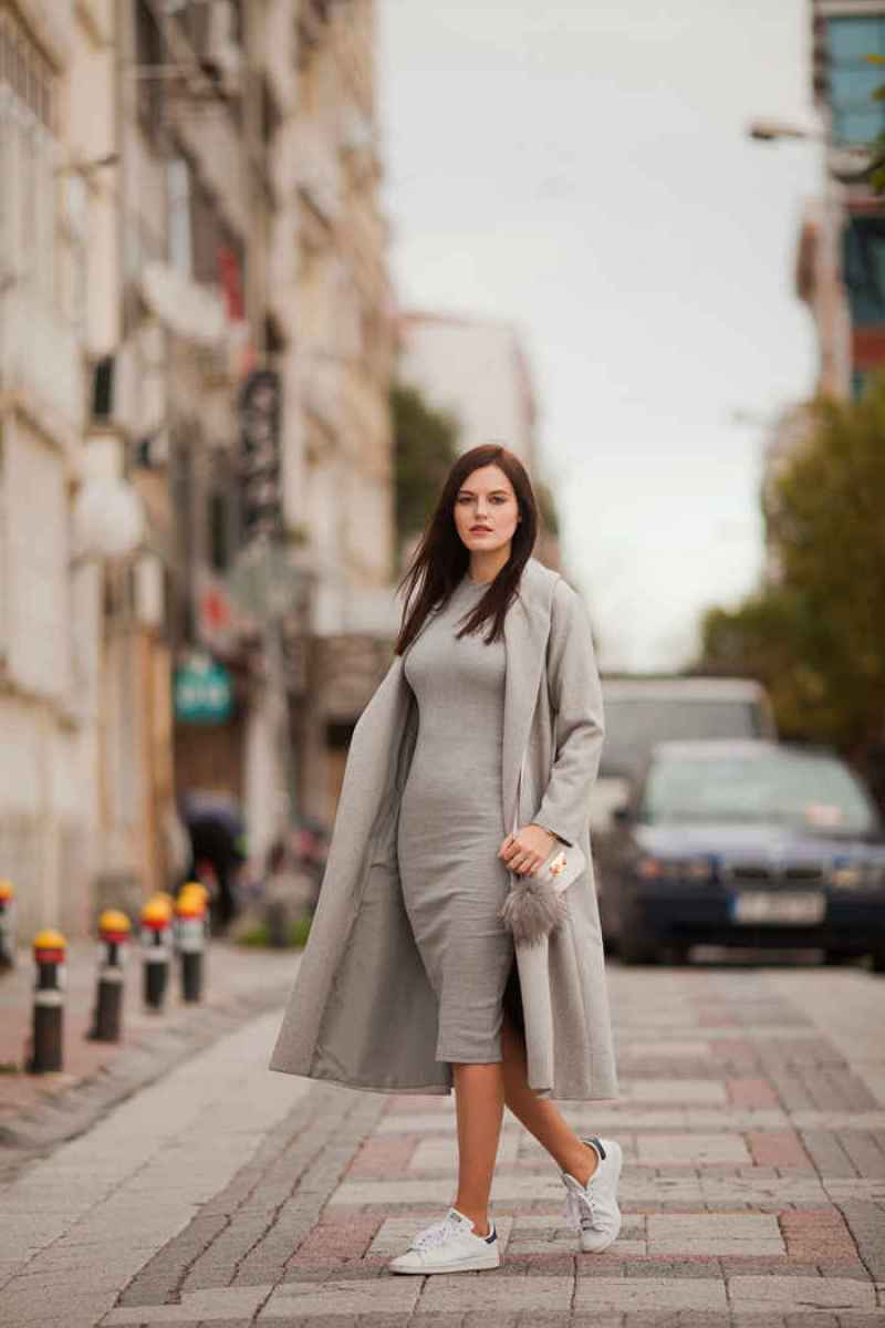 viktoriya sener fashion blogger from istanbul wearing shein sweater dress shein grey long coat adidas traners grey pom pom asos white bag (4)