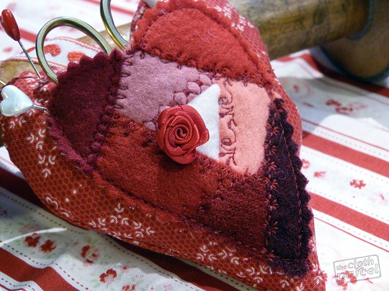 Crazy Quilt Heart Pincushion