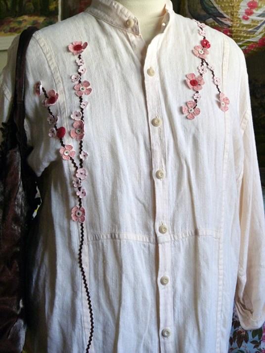 Dogwood Branches Embellished Shirt 2