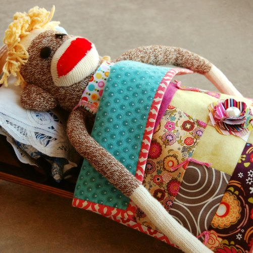 Sock Monkey and Doll Quilt
