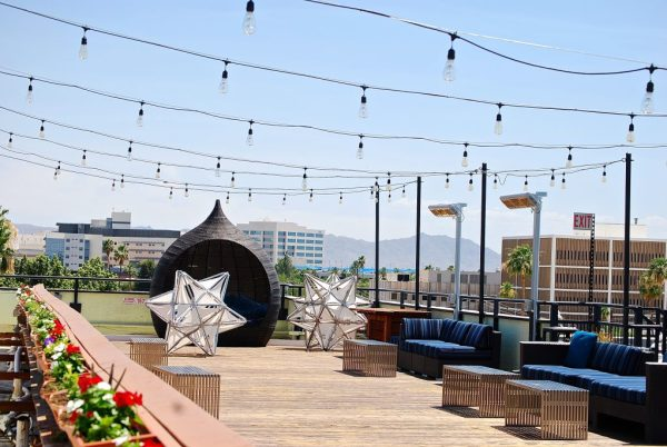 Rooftop Bar and view at the Clarendon Hotel and Spa
