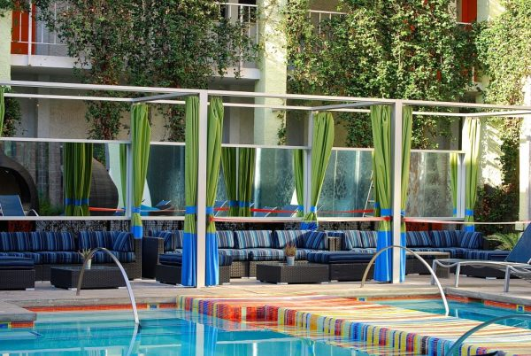 Colorful outdoor pool at the Clarendon Hotel and Spa