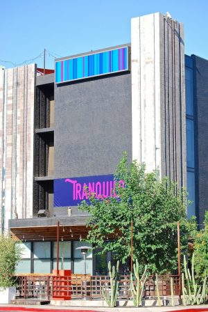 exterior shot of Cafe Tranquilo and the Clarendon Hotel and Spa