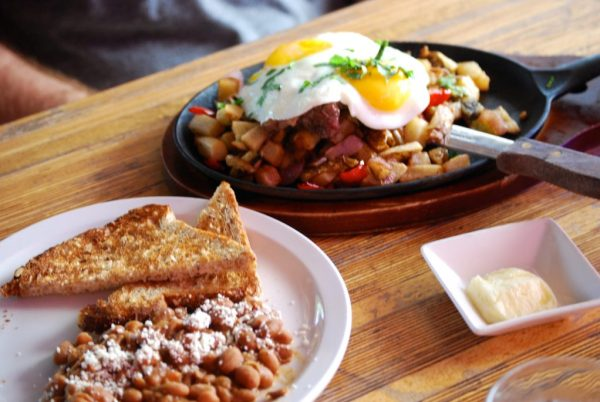 Steak and Eggs and toast at Cafe Tranquilo at the Clarendon Hotel and Spa